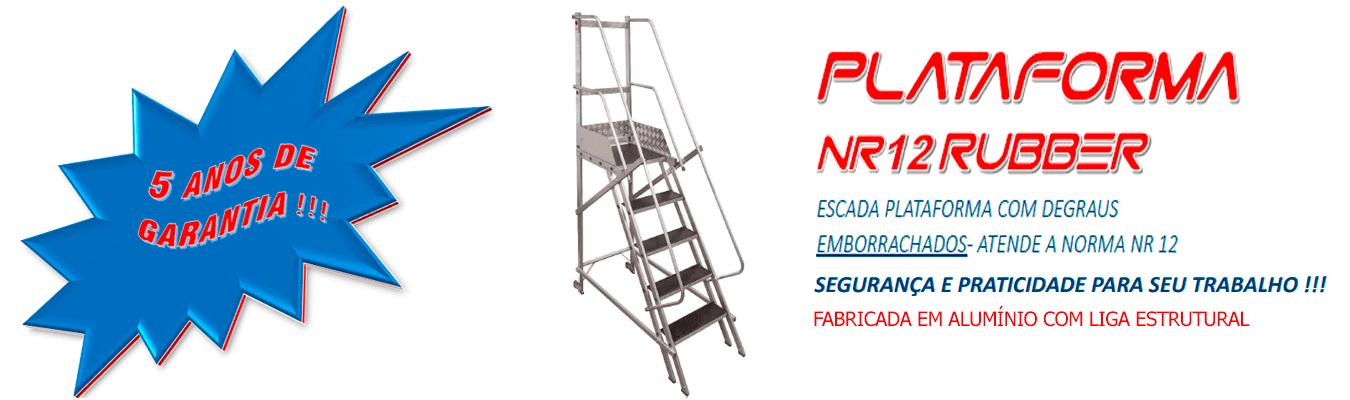 ESCADA PLATAFORMA COM DEGRAUS EMBORRACHADOS- ATENDE A NORMA NR 12